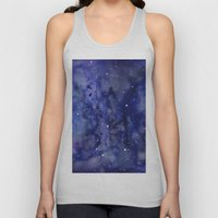 Night Sky Galaxy Stars | Watercolor Space Texture Unisex Tank Top