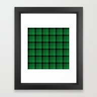 Framed Art Print featuring Hunters Green Black Plai… by Apgme