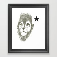 Punkster Lion *remade for tshirts* Framed Art Print