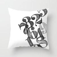 Watercolornumbers Throw Pillow