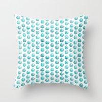Sketchy dots - teal Throw Pillow