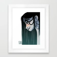 Black hair Framed Art Print
