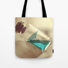 Boat in a bottle Tote Bag