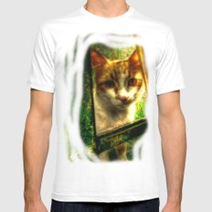 Daisy Cat Mens Fitted Tee SMALL White
