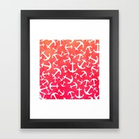 Tropical sunset watercolor nautical anchors Framed Art Print