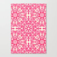 Hot Pink & Soft Cream Folk Art Pattern Canvas Print