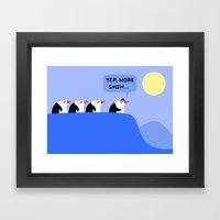 Penguins on a Quest Framed Art Print