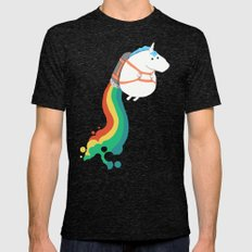 Fat Unicorn on Rainbow Jetpack Mens Fitted Tee Tri-Black LARGE