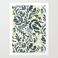 Blue Flowers Pattern Art Print