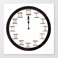 Cotton Reel Clock Canvas Print