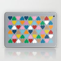Diamond Hearts On Grey Laptop & iPad Skin