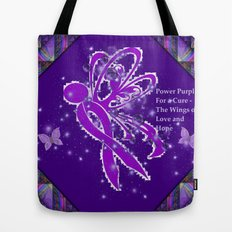 Power Purple For a Cure - The Wings of Love Tote Bag