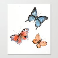 Watercolor Butterflies Canvas Print