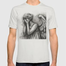 Weeping Angel Watercolor Doctor Who Art Mens Fitted Tee Silver SMALL