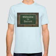 Welcome To Detroit Highw… Mens Fitted Tee Light Blue SMALL