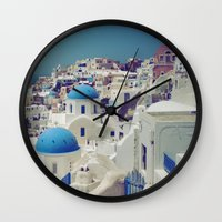 Blue Domes, Oia, Santori… Wall Clock