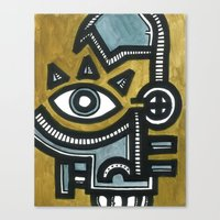Blue And Gold Face Canvas Print