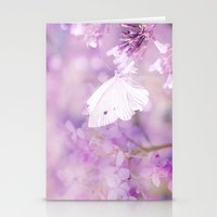 Butterfly :: White Violet Stationery Cards