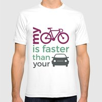 My Bicycle Is Faster Tha… Mens Fitted Tee White SMALL