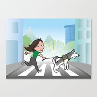 Walking With My Dog Canvas Print