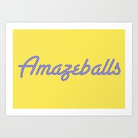 Amazeballs Yellow Art Print