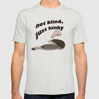Not blind, just kinky! Mens Fitted Tee Silver SMALL