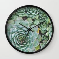 Succulents I Wall Clock