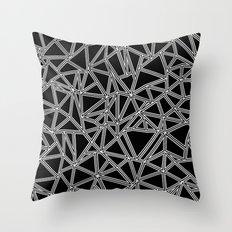 Abstract New White on Black Throw Pillow