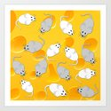 mice on cheese Art Print