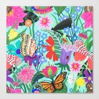 Butterflies and Moths Pattern - Blue Canvas Print