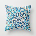 Blue Watercolor Leopard Print on Wood Throw Pillow