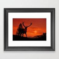 Deer On A Hill Framed Art Print