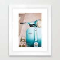 Blue Vespa Framed Art Print