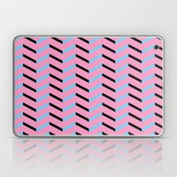 Blue and Black Chevron on Hot Pink Laptop & iPad Skin