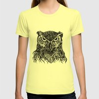 Owl Womens Fitted Tee Lemon SMALL