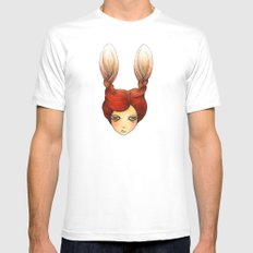 the girl with rabbit hair SMALL White Mens Fitted Tee
