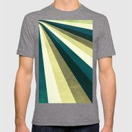 Green Ombre Stripes Mens Fitted Tee Tri-Grey LARGE