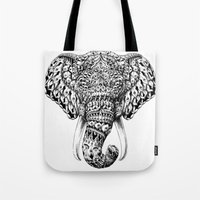 Ornate Elephant Head Tote Bag