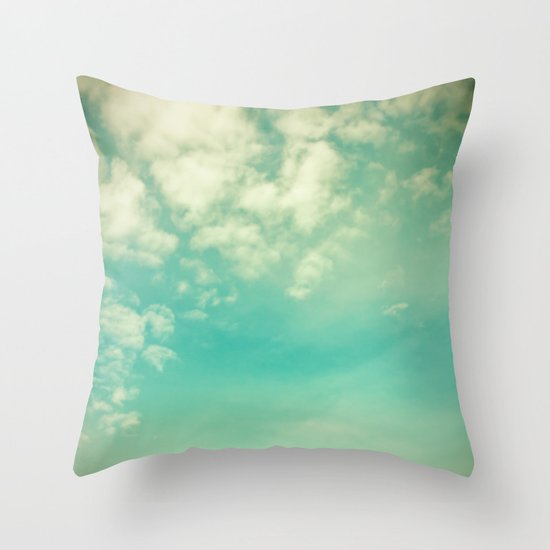 Retro Vintage Blue Turquoise Fall Sky and Clouds Throw Pillow