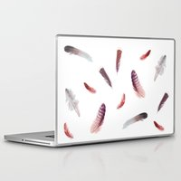 feathers Laptop & iPad Skins featuring feathers by Okti