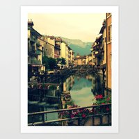 Moody Canal in Annecy, France Art Print