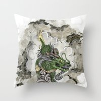Dragon of The Mist Throw Pillow
