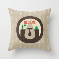 Believe Skoggs Troll Throw Pillow