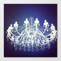 Chandelier | Black and White Photography | Romantic, Sparkly, Dreamy Light Canvas Print