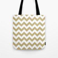 Chevron (Sand/White) Tote Bag