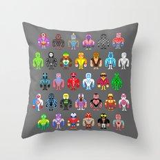 Pixel Luchadores Throw Pillow