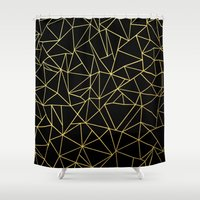 Abstraction Outline Gold… Shower Curtain