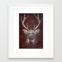 DARK DEER Framed Art Print