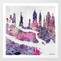 New York Skyline + Map Art Print