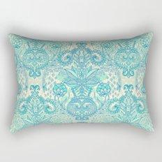 Botanical Geometry - nature pattern in blue, mint green & cream Rectangular Pillow